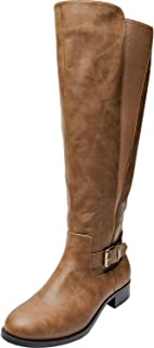 Women's Wide Width Knee High Riding Boots - Low Heel Stretchy Elastic Band Side Zipper Winter Boots.(Extra Wide Calf)