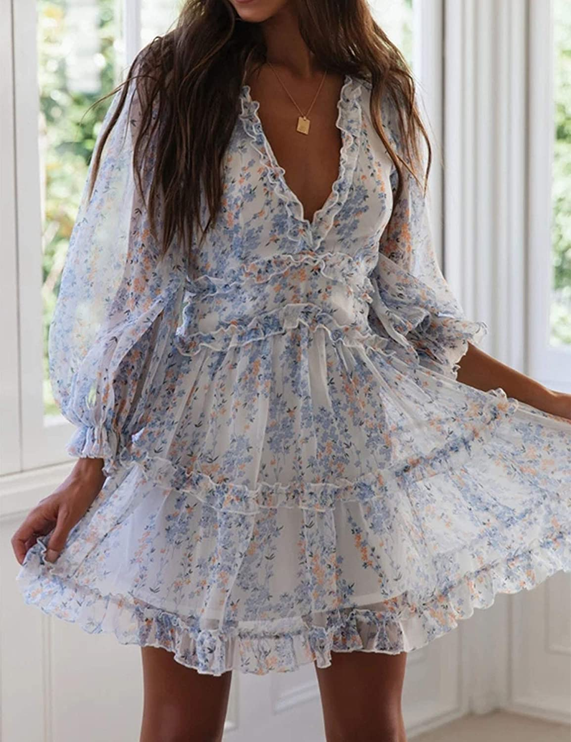 Murimia Women's V Neck Floral Mini Dress Ruffle Backless Flowy Swing Party Dresses