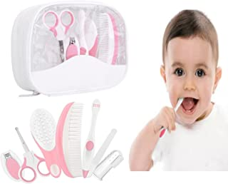 Essential Baby Healthcare and Grooming Kit Set - Nail Care Set with Nail Clipper, Brush, File, Scissors, Comb, Toothbrush & Finger Toothbrush for Infants, Newborns, Kids, Boys and Girls