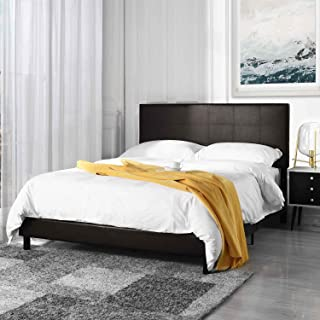 Casa AndreaMilano Classic Faux Leather Full Size Platform Bed Frame Dark Coffee Brown Upholstered Headboard, Bed Frames for Full Mattress Foundation & Solid Wood Slat Bed Frame Support