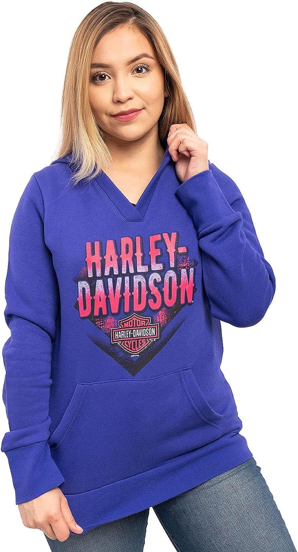 Harley-Davidson Womens Travel Crazy B&S V-Neck Pullover Purple Long Sleeve Hoodie