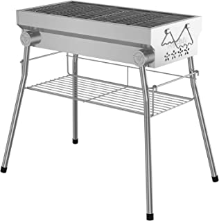 Supsiah Portable Charcoal Grill Foldable Stainless Steel BBQ Grill with Removable Kickstand for Camping, Cooking, Picnic, ...