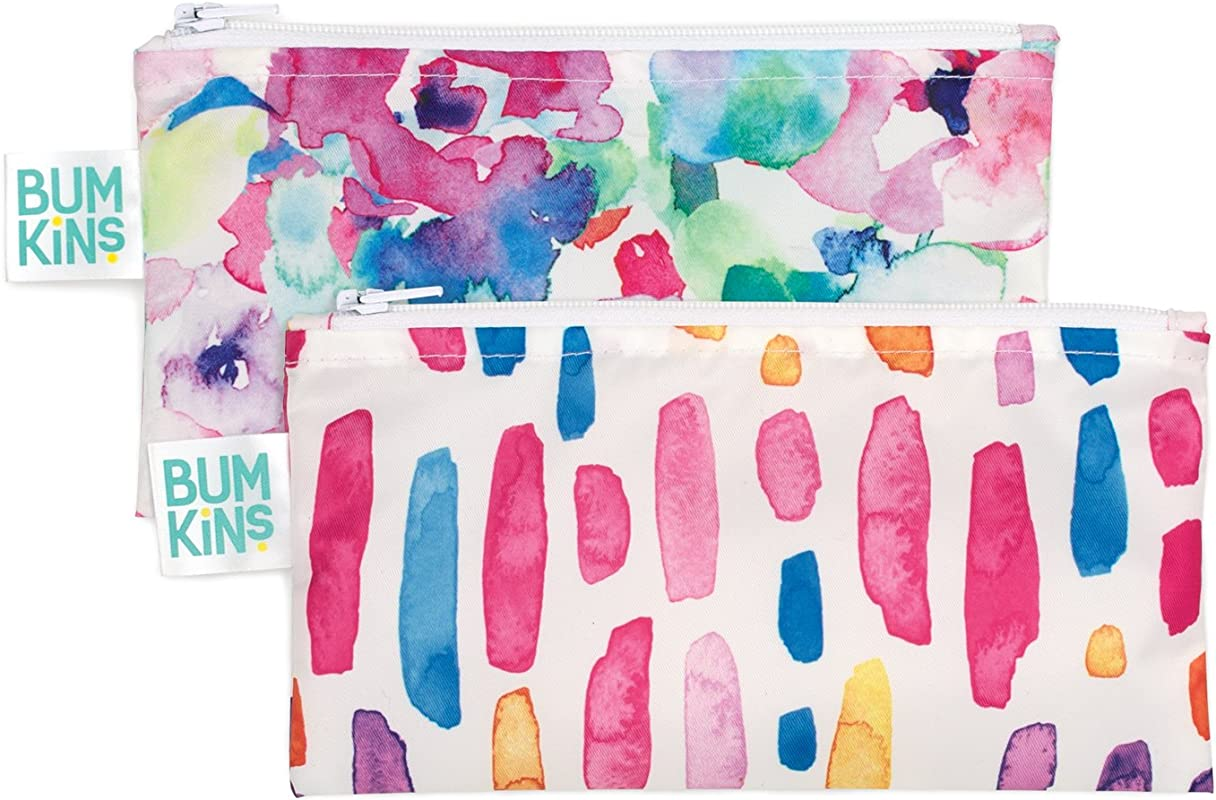Bumkins Snack Bags Reusable Washable Food Safe BPA Free 2 Pack Watercolor Brushstrokes