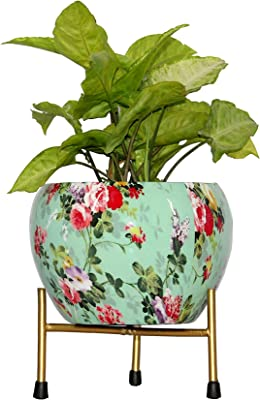 DreamKraft Desk Planters, Color: Green (Flower Pot with Stand, 12x12x16 cm)