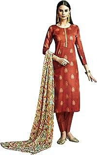 فستان حريمي من القطن مطرز ومطبوع عليه صورة هندية باكستاني
