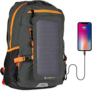 Sunnybag Explorer+ Solar Backpack | World's Strongest Solar Panel for Charging Smartphones and All USB-Devices on The go | 15L Volume and 15'' Laptop Compartment | Black/Orange
