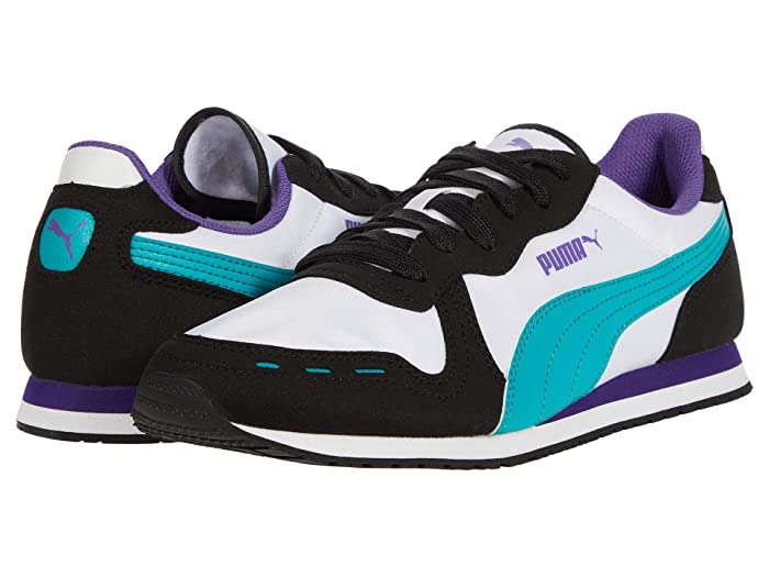 Vintage Sneakers, Retro Designs for Women PUMA Cabana Run Puma WhitePuma BlackViridian GreenPrism Violet Mens Shoes $31.65 AT vintagedancer.com