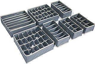 TLOXO Organisateurs de tiroirs pour sous-vêtements,Boîtes de Rangement,Lot de 7,pour Chaussettes, Soutiens-Gorge, Culotte...