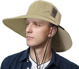 Sun Blocker Unisex Outdoor Safari Sun Hat Wide Brim Boonie Cap Adjustable Drawstring Camping Hiking Fishing Hunting Boating