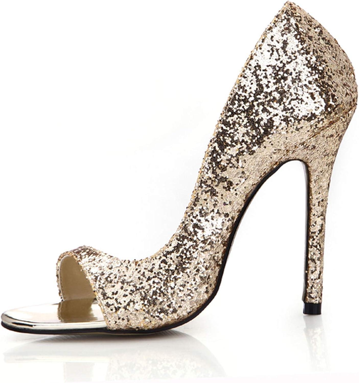 gold Glitter Sexy Wedding Party Women's shoes Peep Toe Stiletto High Heel Pumps