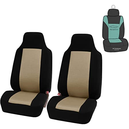 Set of 2 Leatherette with Fabric Beige FH Group Universal Fit Front Car Seat Cushion