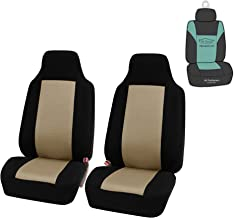 FH Group FB102102 Classic High-Back Cloth Pair Car Seat Covers w. Gift, Beige/Black Color- Fit Most Car, Truck, SUV, or Van