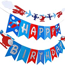 Airplane Plane Birthday Banner & Garland Decoration for Airplane Aviator Aviation Birthday Themed Party Up and Away Glitte...