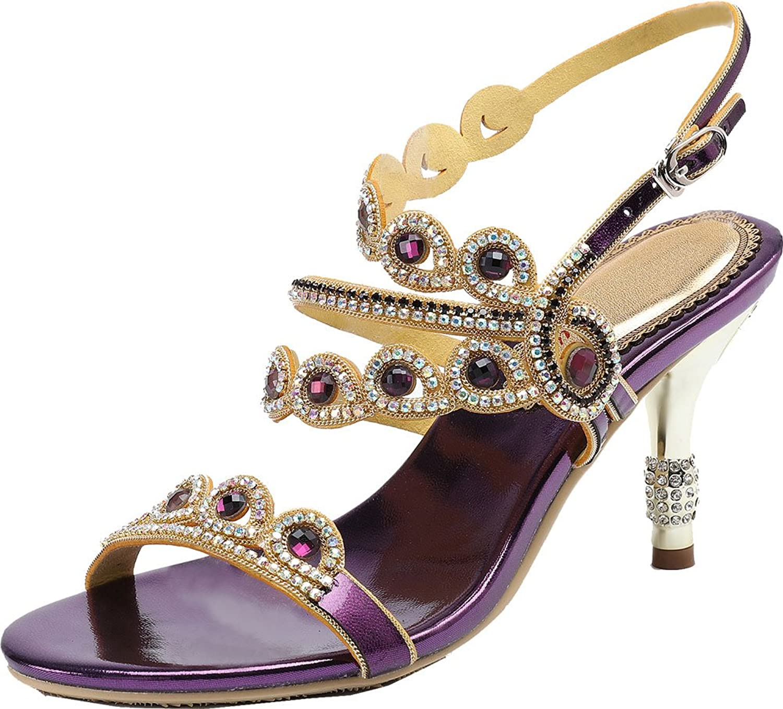 Vimedea Womens Sexy Heeled Rhinestone Wedding Sandals Dress Bride Prom Party shoes L047