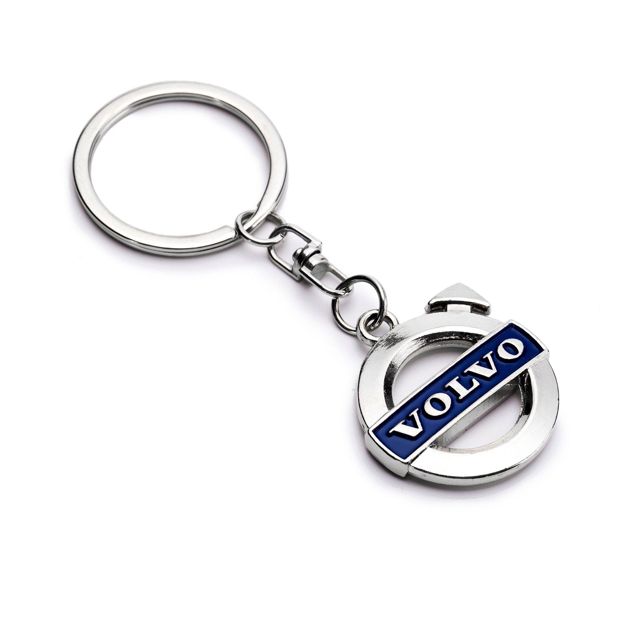 Volvo Blue Logo 3D Chrome Plated Key Chain Ring FOB