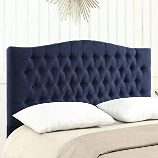 24KF Upholstered Button Tufted Queen Headboard and Linen Fabric Queen/Full Size- Navy Blue