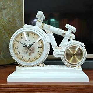 PIGE Sala de Estar Creativa Reloj de Reloj Grande Ultra silencioso Reloj de Cuarzo Estilo Europeo Reloj de péndulo casero Moderno Simple (Color : Blanco)
