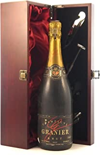 Granier Brut Vintage Champagne 1983 in a silk lined wooden box with four wine accessories, 1 x 750ml