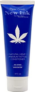 PREMIUM TATTOO LOTION CONDITIONER NEW INK - Before and Aftercare Moisturizer, Organic Shea, Cocoa and Mango Butters and Hempseed Oil, 4 oz. (Natural Hemp) - Piper Cove