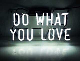 Neon Sign Do What You Love, Neon Light Sign with Real Neon Glass, Cool Wall Hanging Light for Bedroom, Neon Light Sign wit...