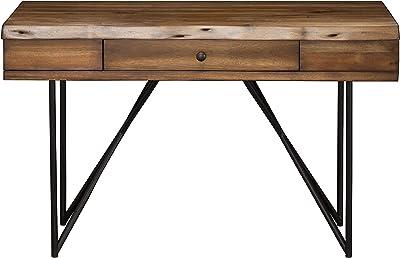Amazon Com Coaster Home Furnishings Analiese 3 Drawer Writing Desk Antique Nutmeg And Black Furniture Decor