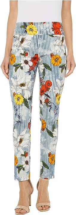 Spring Awakening Pull-On Ankle Pants with Back Slit Detail