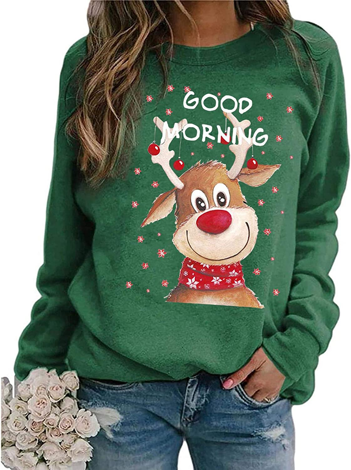 Womens Long Sleeve Tops,Cute Christmas Printed Lovely Graphic Pullover Crewneck Sweatshirt Shirts