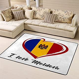 Carpet Non-Slip Floor Mat Love Moldova Emblem Colored Independence Day of Estonia Red Heart On National Flag Doormat for Bathroom and Livingroom 80 x 58 in