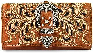 Montana West Tr-Fold Western Wristlet Wallet- Brown