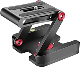 Neewer Folding Z Flex Tilt Head Tripod Ball Head with Quick Shoe QR Plate -Aluminum Alloy Camera Bracket with Bubble Level, Compatible with Canon Nikon Sony Camera Camcorder, Tripod, Slider Rail(Red)