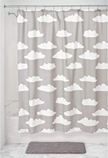 iDesign Fabric Shower Curtain with Cloud Pattern Water-Resistant Shower Curtain for Kids, Teenagers, College Dorm Bathroom...