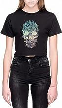 Schedel Bloemen Dames Crop T-Shirt Zwart Women's C...