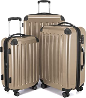 HAUPTSTADTKOFFER Luggage Sets Alex UP Hard Shell Luggage with Spinner Wheels 3 Piece Suitcase TSA Champagne