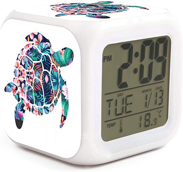 Tropical Flowers Beach Turtle Alarm Clock Displays Time Date And Temperature Soft Nightlight For Kids Home Office Bedroom Heavy Sleepers