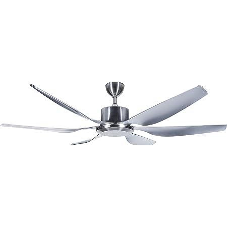 6 Blade No Light Fixture 55W Polished Hyperikon 66 Inch Sleek Ceiling Fan