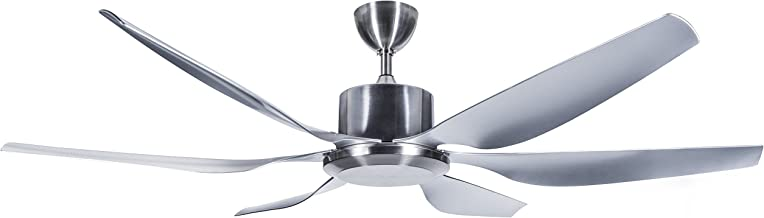Hyperikon 66 Inch Ceiling Fan, 55W, Modern Industrial Hugger, Polished Silver, 6 Blades, No Lights, Remote Controlled