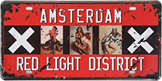 SUMIK Amsterdam Red Light District Pin up Girl Retro Vintage Auto License Plate Tin Sign