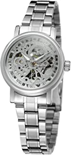 Forsining Women's Stylish Automatic Self-Wind Skeleton Analog Stainless Steel Bracelet Watch WRL8005M4S1