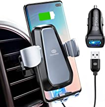 DesertWest Wireless Car Charger Phone Mount, Auto-Clamp Fast Charger Qi-Certified Cell Phone Air Vent Holder for QI Smartphones (+QC 3.0 Charger Adapter) (Black)