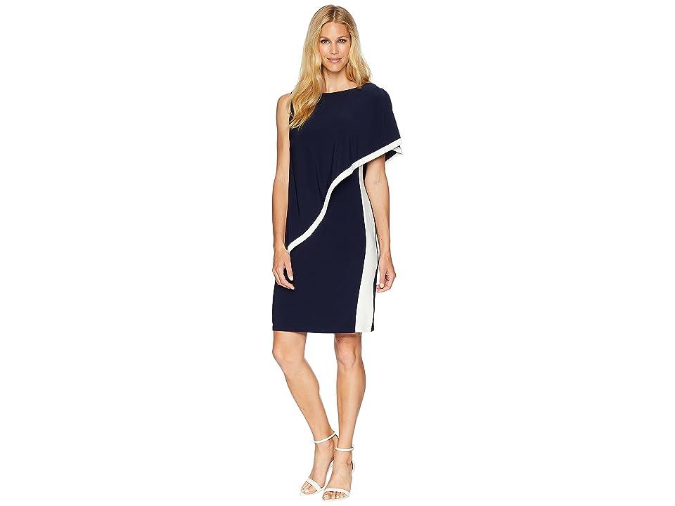 LAUREN Ralph Lauren 1T Matte Jersey Timna Two-Tone Sleeveless Day Dress (Lighthouse Navy/Colonial Cream) Women