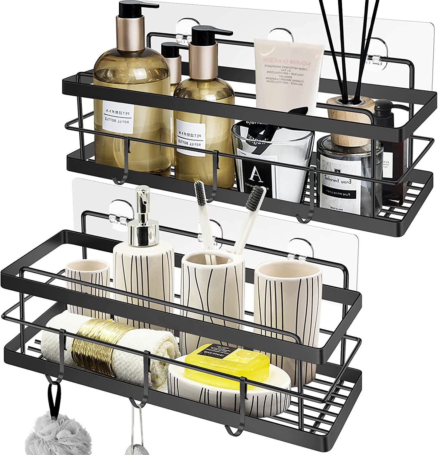 Shower Caddy 2Pack Adhesive Bathroom 6 Hook with Shelf Low price Limited price sale Organizer