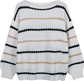 Jersey de Punto a Rayas para Mujer, Otoño Invierno cálido de Manga Larga, jerséis Sueltos, suéteres Suaves de Elasticidad,...