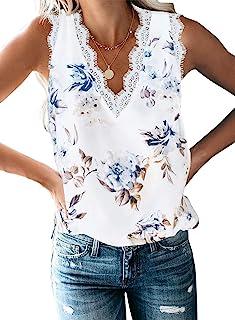 Portazai Womens Casual V Neck Sleeveless Cami Crop Top Rose Embroidery Sleeveless Blouses Cami Shirts Tunic