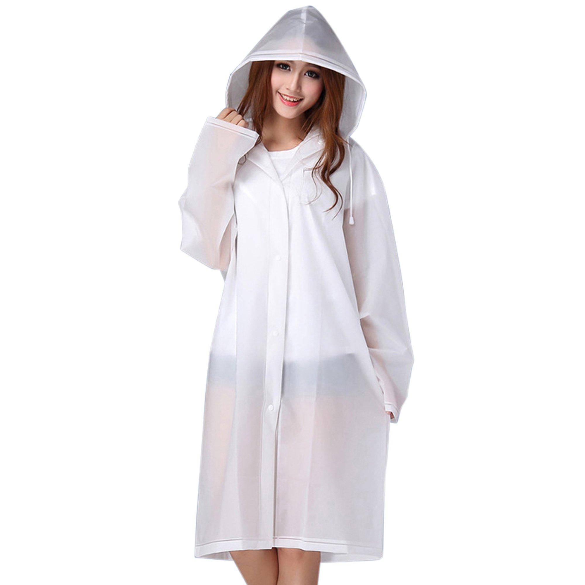 Durable EVA Adult Portable Raincoat Rain Poncho with Hoods and Sleeves
