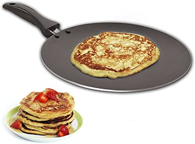 Nonstick Chapati Tava Griddle Tawa Cooking Utensil Cookware Easy pancakes omelette fried eggs bread Cookware Best Crepes Pan Rounded Base durable Roti Paratha pan Round Griddle Cookware pan (285mm)