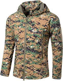 YFNT Men's Tactical Softshell Fleece Jackets Camouflage Military Hoodie Outdoor Hiking Camping Warm Lining Windproof Water...