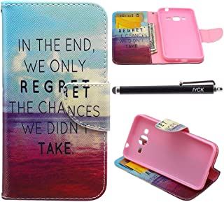 Galaxy J1 Ace Case Wallet, iYCK Premium PU Leather Flip Folio Carrying Magnetic Closure Protective Shell Wallet Case Cover for Samsung Galaxy J1 Ace / J110M with Kickstand Stand - in The End