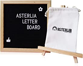 Changeable Felt Letter Board Sign Set Black-10x10 Inches Oak Frame, 374 Pieces Alphabets, Numbers & Symbols, Wood Stand Easel, and Canvas Bag- Display Personalized Messages Creatively- Asterlia Decor