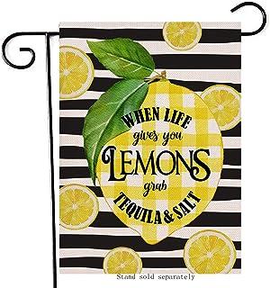 Artofy When Life Give You Lemons Decorative Garden Flag ، House Yard Summer Buffalo Plaid Check Decor Black white Stripe O...