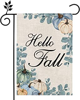 CROWNED BEAUTY Hello Fall Garden Flag Pumpkin 12×18 Inch Double Sided Vertical Rustic Farmhouse Yard Seasonal Holiday Outd...